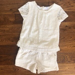 Carter's 2 Piece Lace Shorts & Tee Outfit Ivory 7